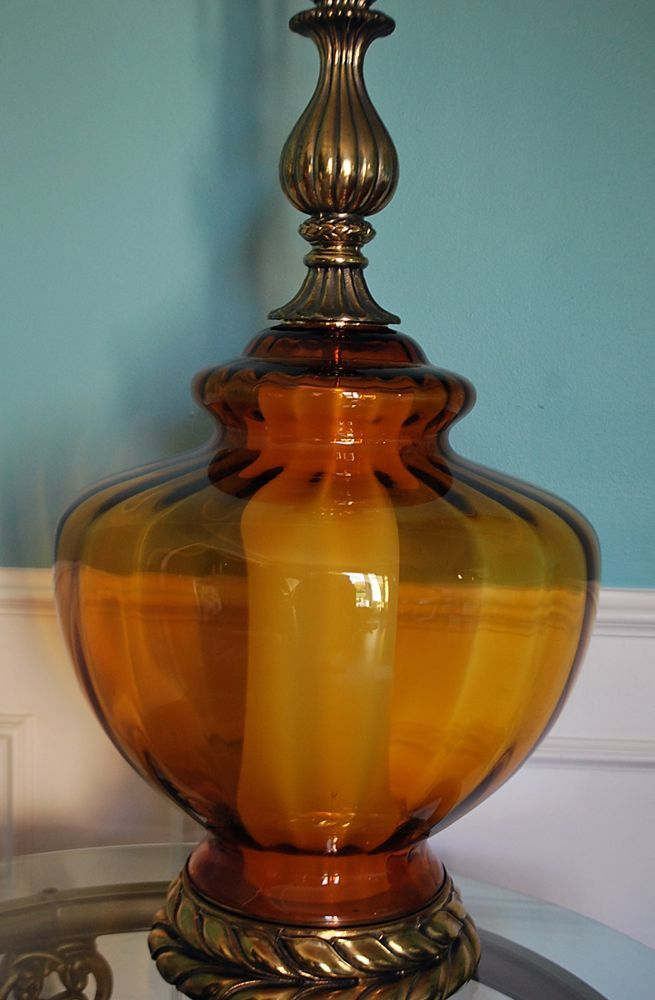 VTG Hollywood Regency Amber Globe Table Lamp Optic Glass Heavy Laurel Leaf  Base