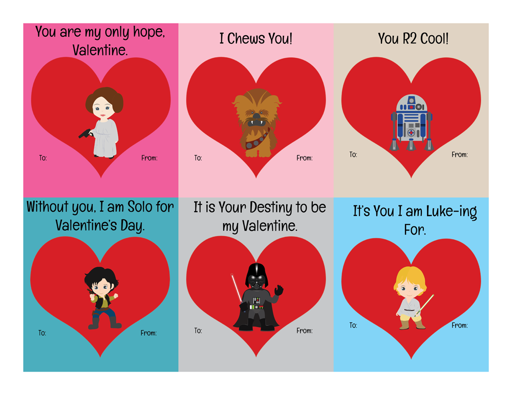 Free Printable Star Wars Valentines Instant Download
