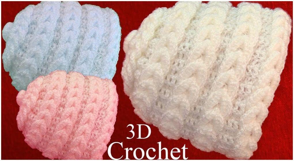 Crochet Beanie Hat In 3D Point Braided Eyelet | Tejido de crochet ...