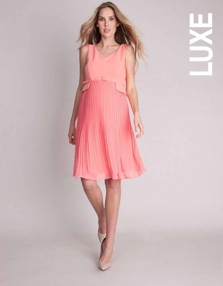 cd11f4cfad8d8 Coral Pleated Maternity Dress | Seraphine| Baby Shower Inspiration ...