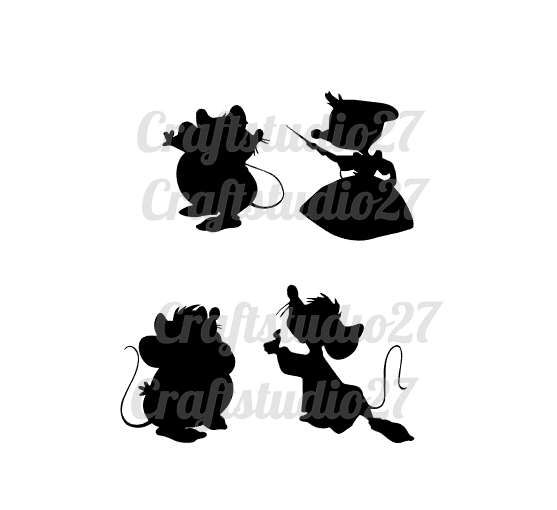 Digital Download Cinderella Mice 4 Silhouettes For Cameo Cricut And Print Svg Pdf And Png And Studiofile Cinderella Mice Cinderella Silhouette Cinderella
