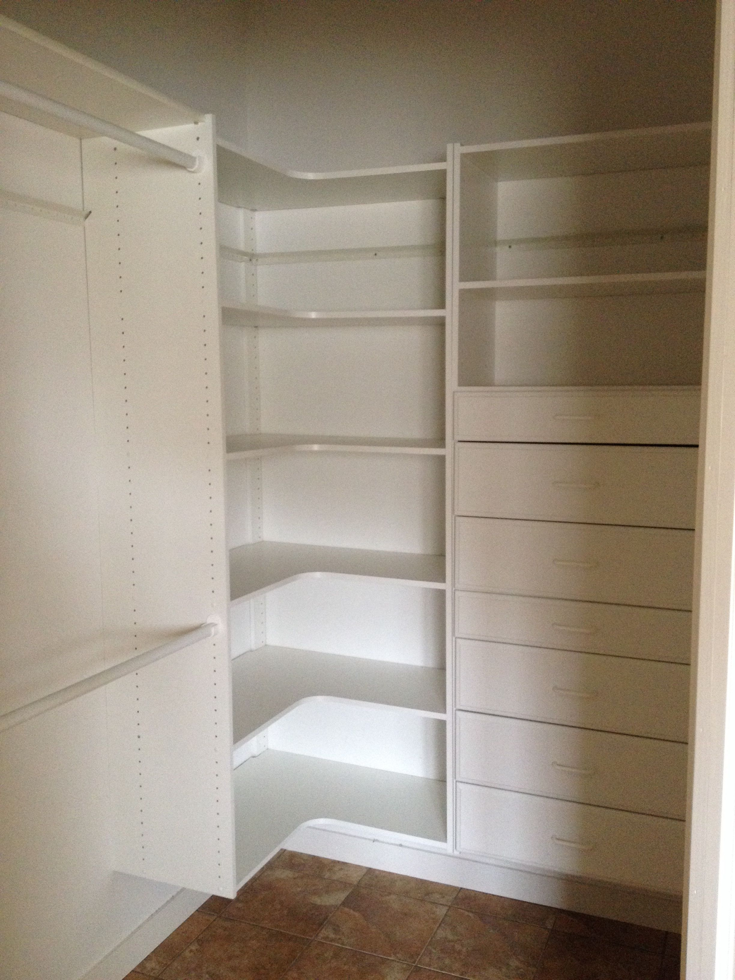 Master Bedroom Walk In Closet Idea For Maximum Storage And Space Use. I  Like The Corner Shelves