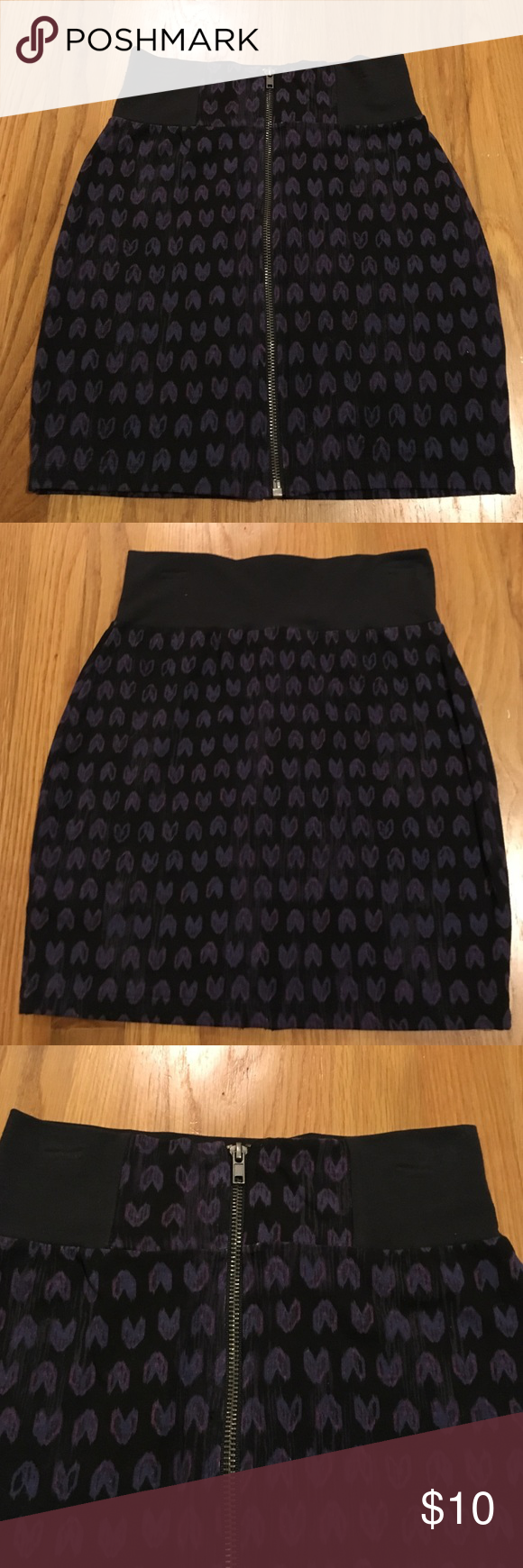 Material Girl black print zipped mini skirt Material Girl black print zipped mini skirt. Size small.95% cotton 5% spandex. Brand new with tags. Material Girl Skirts Mini
