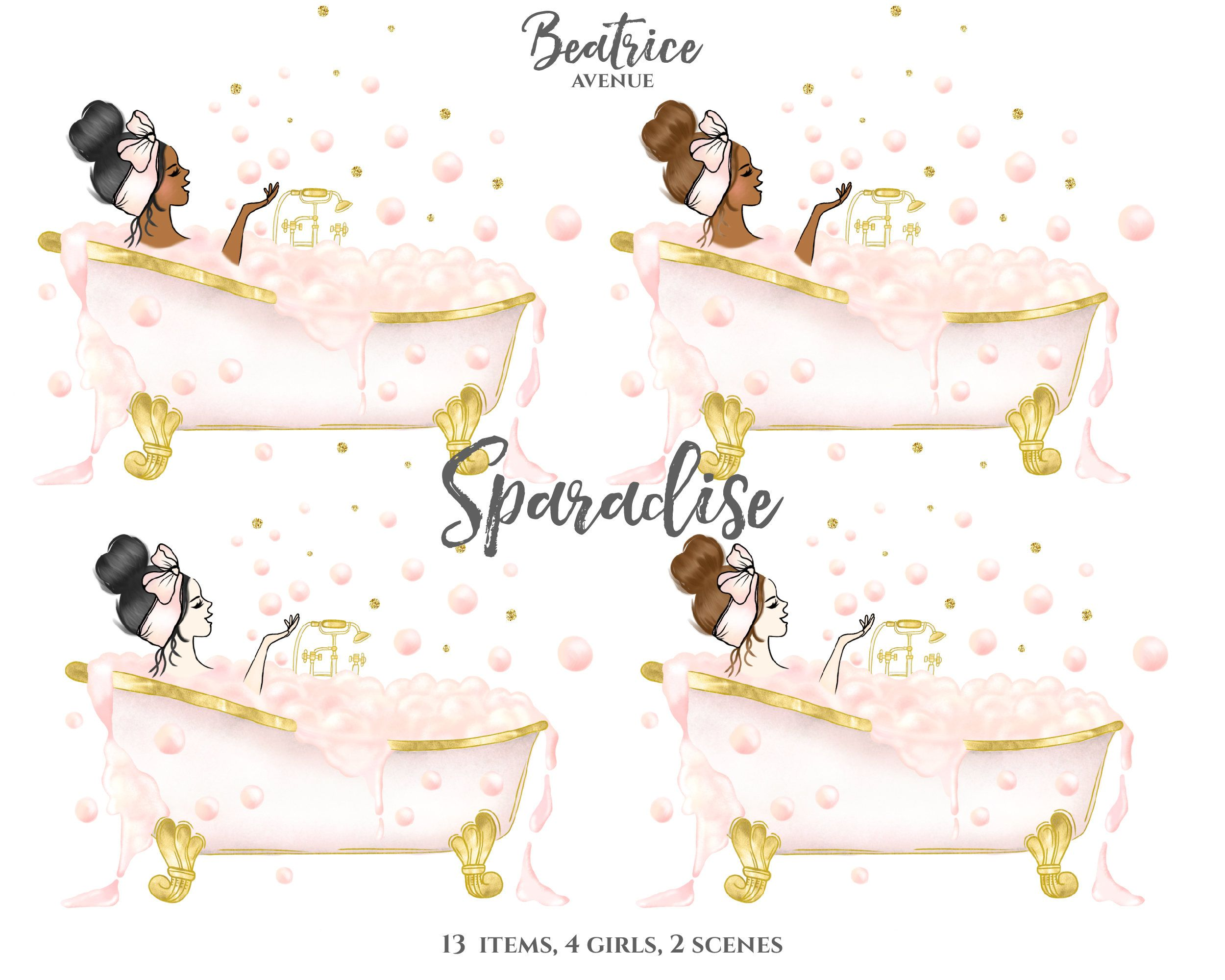 Sparadise Spa Bathtub Clipart Pink Watercolor Gold Planner Girl