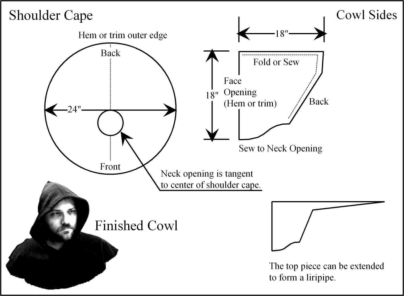 Basic pattern for a hood with cowl. This should work, with slight ...