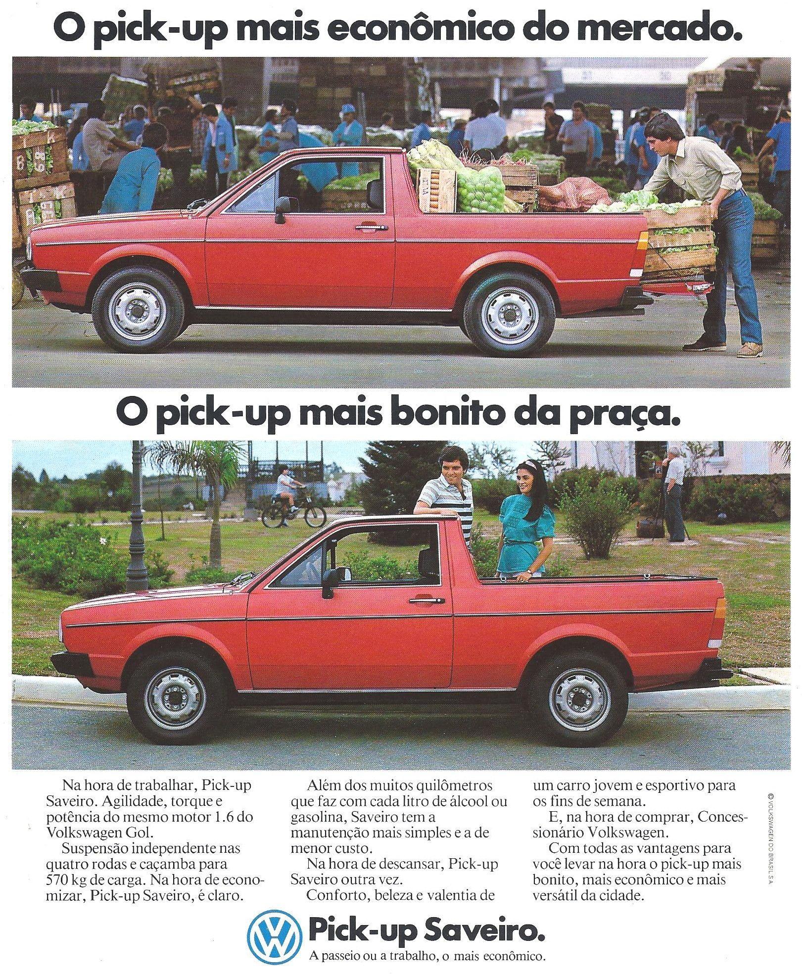 1983 Vw Saveiro Brasil Carros E Caminhoes Propagandas Antigas