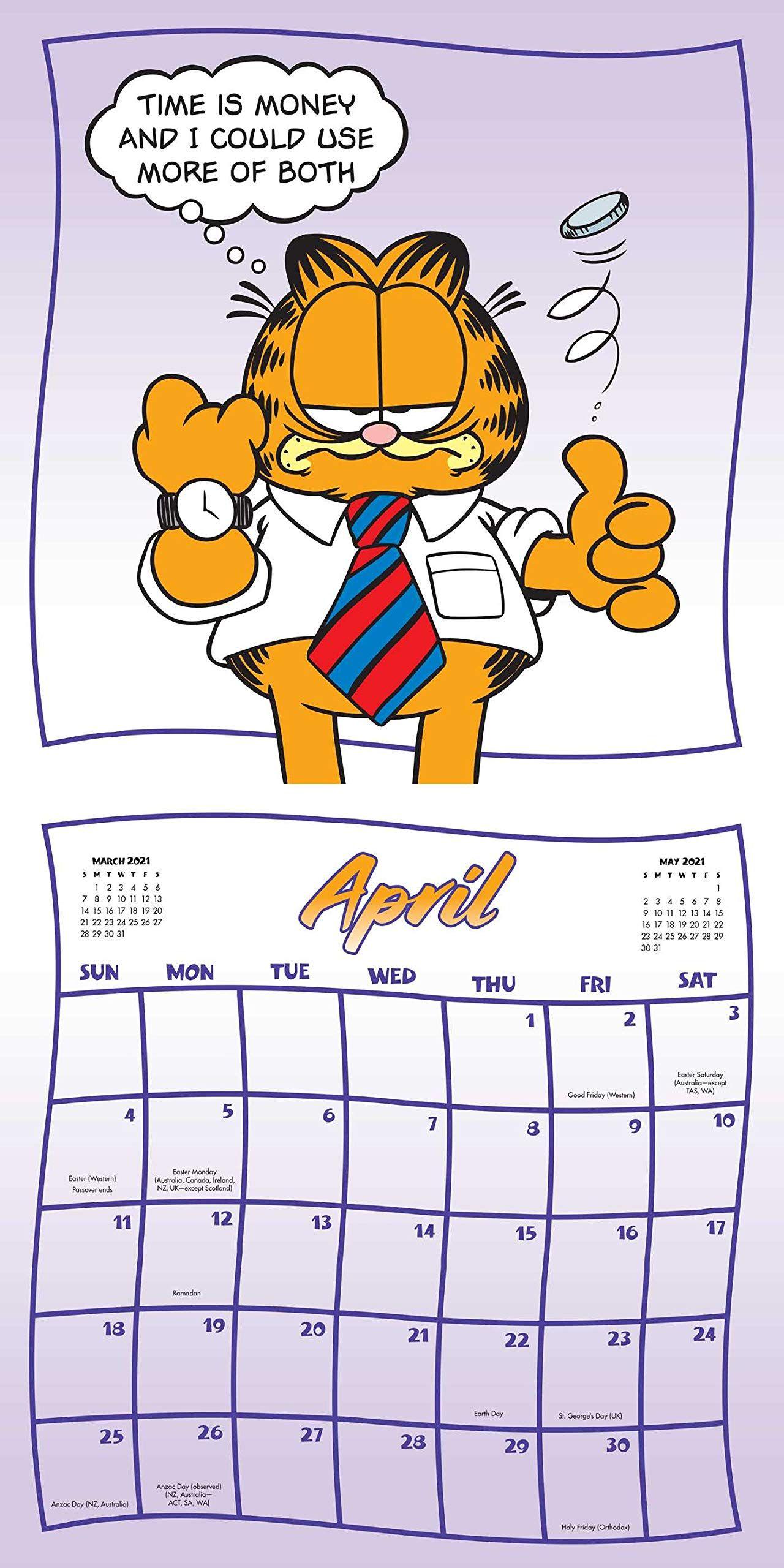 Garfield April 2021 Calendar Page In 2020 Garfield Cartoon Icons Cartoonist