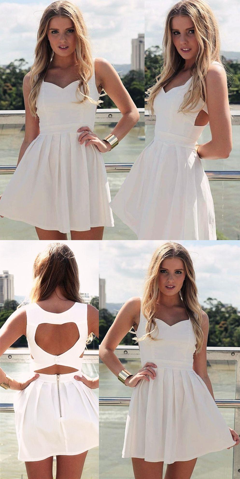ALine Scoop Sleeveless Short White Satin Dress