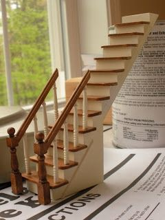 Doll House Miniatures Stairs. Needs Part Assembly Bare Wood Narrow Stair case