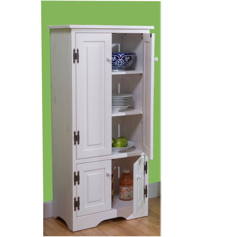 Versatile Wood 4 Door Floor Cabinet White Walmart Com In 2020 Pantry Storage Cabinet Wood Storage Cabinets Kitchen Cabinet Storage