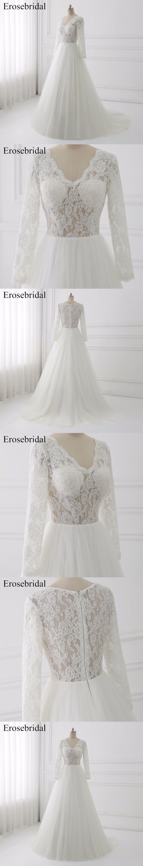 2018 Long Sleeve Wedding Dresses A Line Bridal Gowns Erosebridal Plus Size  Wedding Dress Lace Illusion ed43c3bea0cb