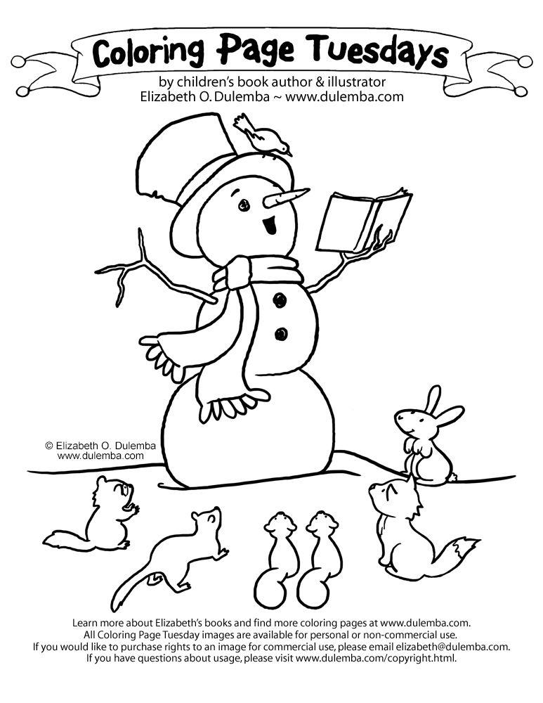 dulemba: Coloring Page Tuesdays Storytelling Snowman