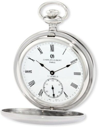 Charles-Hubert, Paris 3908-WR Premium Collection Stainless Steel Satin Finish Double Hunter Case Mechanical Pocket Watch: Watches: Amazon.com
