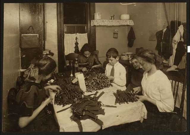 Jewish Family Working On Garters In Kitchen For New York Tenement Home 1912
