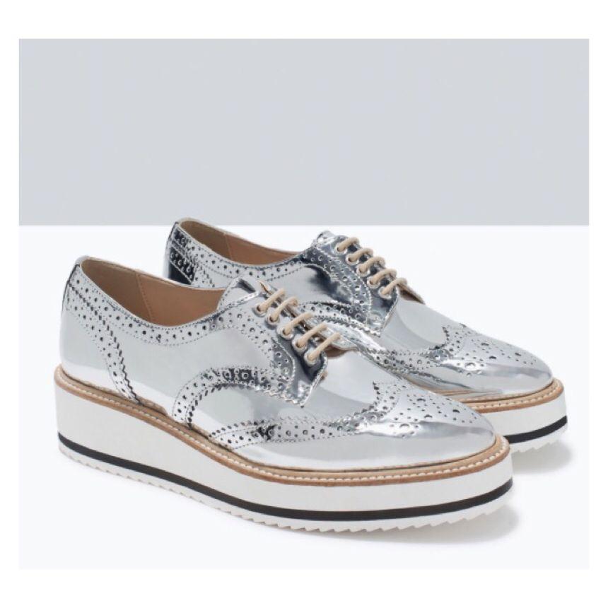 silver #shoes #zara | Oxford platform