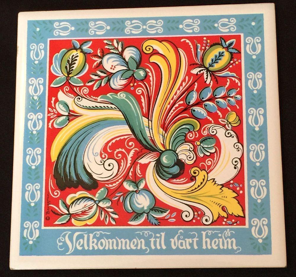 Norwegian berggren ceramic trivettile velkommen til vrt heim 3 vintage scandinavian folk painting on ceramic tile by berrgren trivets kitchen decor norweigein tile trivets dailygadgetfo Choice Image
