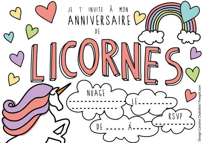 invitation licorne #invitation #party #printable #unicorn #licorne #anniversaire #anniv ...