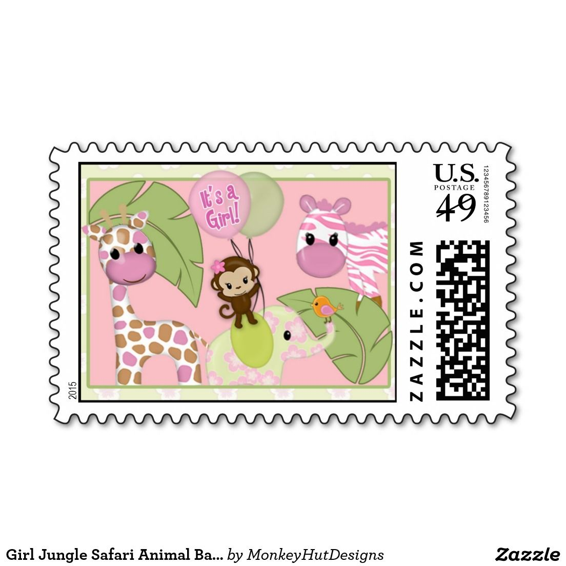 Girl Jungle Safari Animal Baby Shower Postage | Safari animals ...
