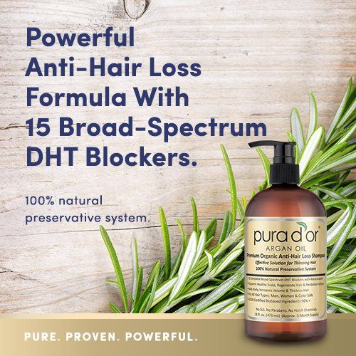 The ONLY 100% Natural Preservative Anti-Hair Loss Formula with Broad-Spectrum DHT Blockers (15+ DHT Blocking Ingredients) USDA Biobased Certified Ingredients (90%+), Organic Ingredients, No SLS (Sulfates). No Parabens. No Chemical Preservatives. Supports Healthy Scalp, Hair  Follicles & Cell Growth