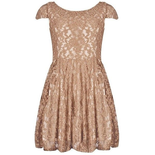 BACK OPEN LACE SKATER DRESS ($45) ❤ liked on Polyvore featuring dresses, vestidos, lacy dress, lace skater dress, beige lace dress, beige dress and skater dress