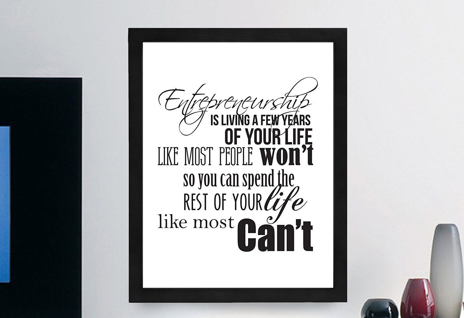 """Inspirational Typography Quote B+w Print """"Entrepreneurship Is Living"""" Wall Décor Illustration"""