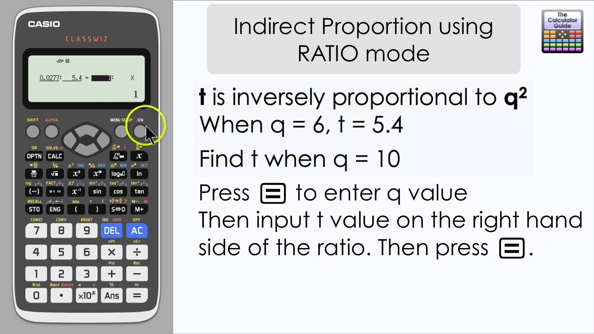 Indirect Proportion [Inverse Proportion] using Ratio Mode on the ...