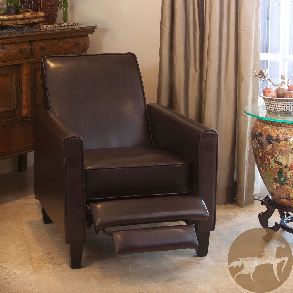 Clean Lines (in Leather) Christopher Knight Home Leather Recliner Club Chair