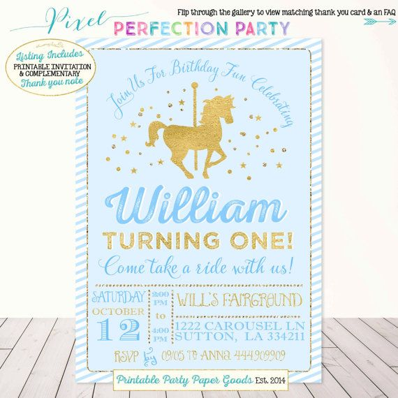 Carousel Birthday Invitation Boys Carousel Party Invitation Blue