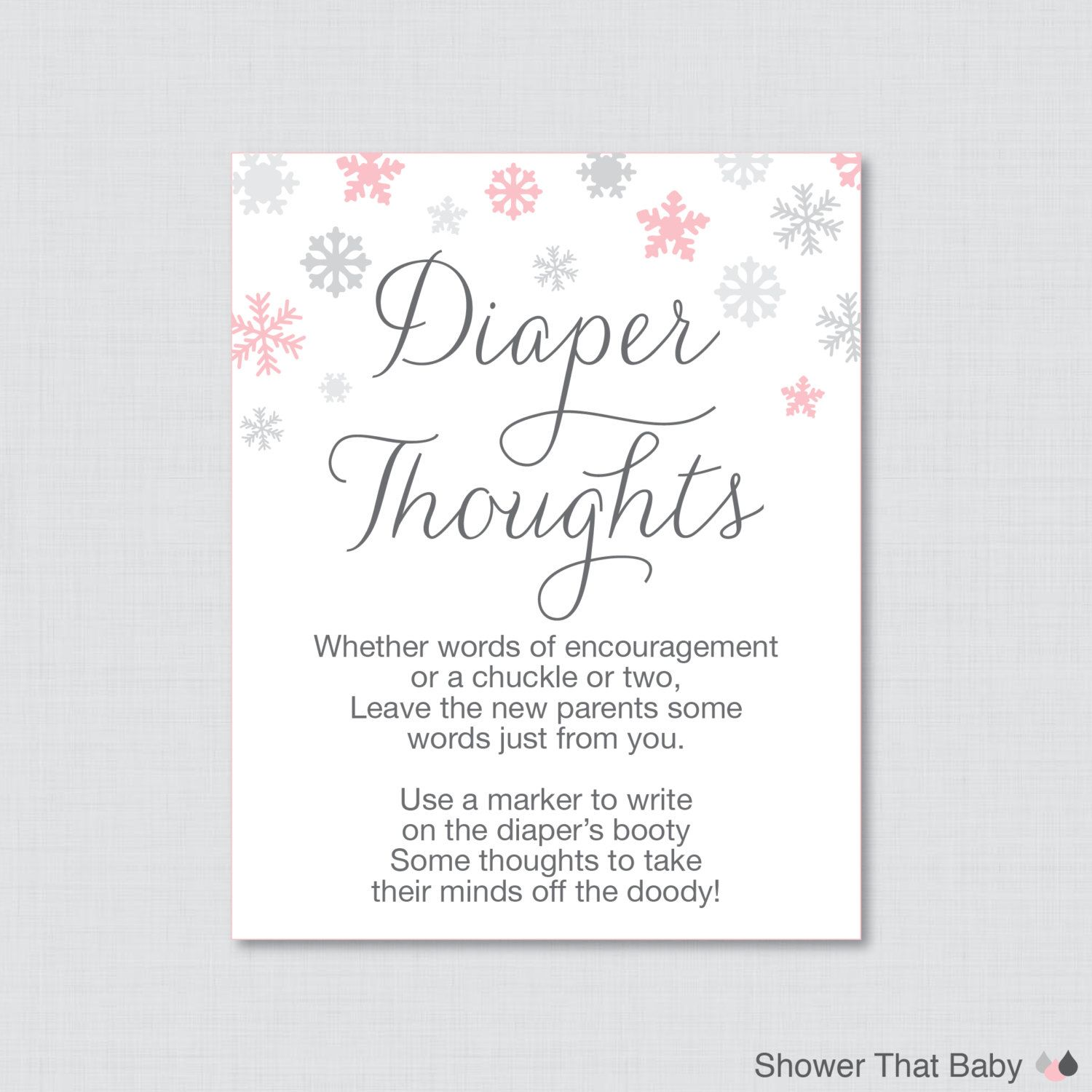 Winter Baby Shower Diaper Thoughts Game   Printable Download   Write On  Diaper Words For Wee Hours Pink And Gray Snowflakes   0004 P