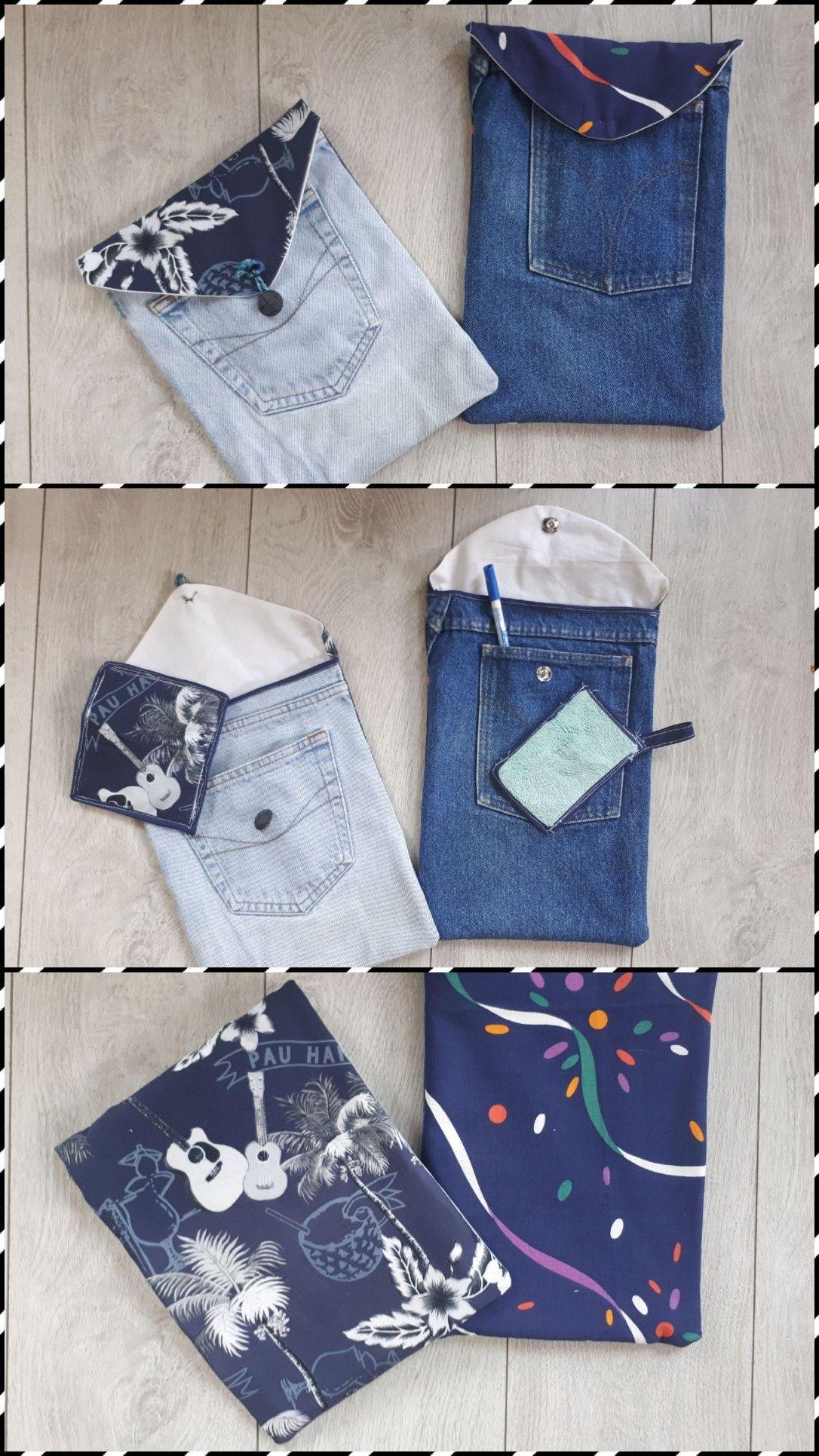 Recyclage Chute De Tissus : recyclage, chute, tissus, Pochettes, Ardoises, Leurs, éponges, Assorties., Jeans,, Pochette,, Chute, Tissu