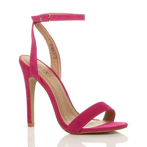 d82262bdbff0ff Femmes Haute Talon Fête à Peine Là Boucle Lanières Sandales Chaussures  Pointure 6 39