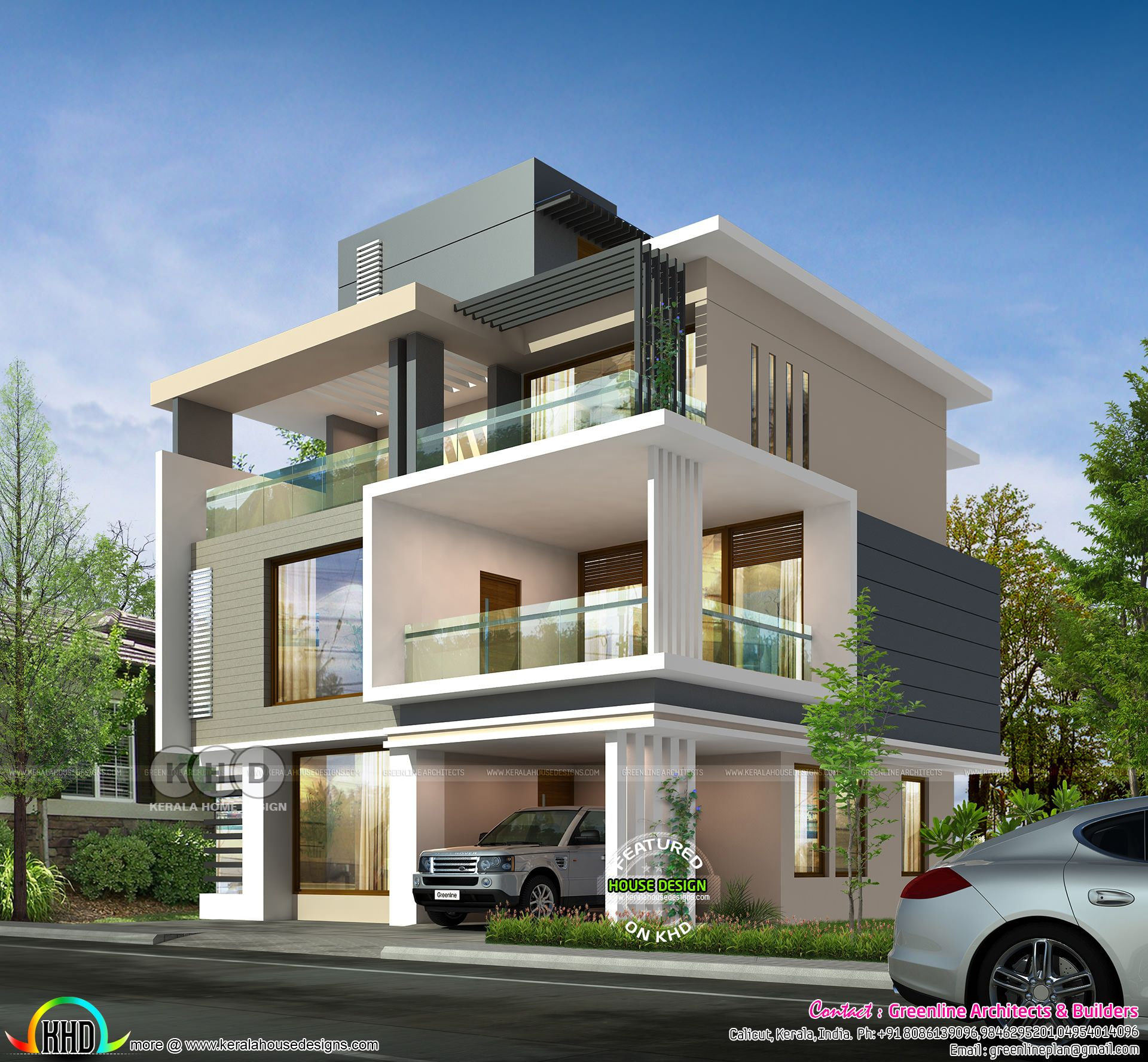 3719 Square Feet 3 Storied Ultra Modern Home Bungalow House Design Modern House Plans Small House Elevation Design
