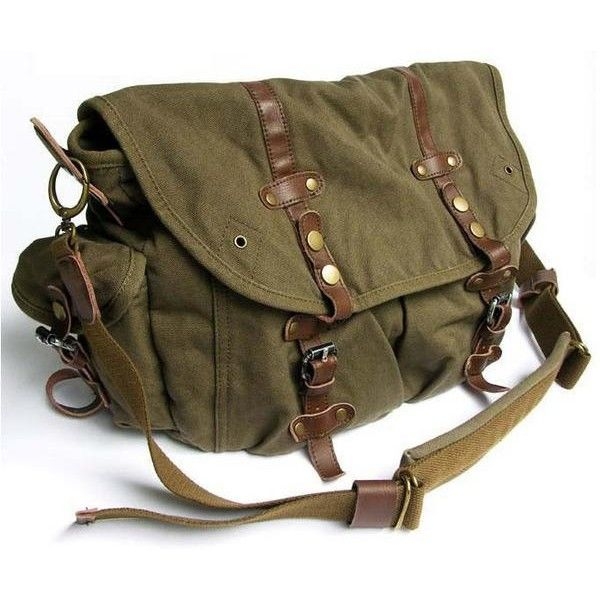 9496e47546 Stylish Vintage Green Canvas Messenger Bag with Large Pockets ( 70) ❤ liked  on Polyvore