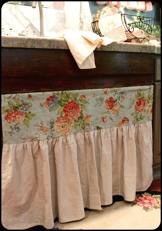Under Sink Curtain Tiny House Decor Laundry Decor Sink Skirt