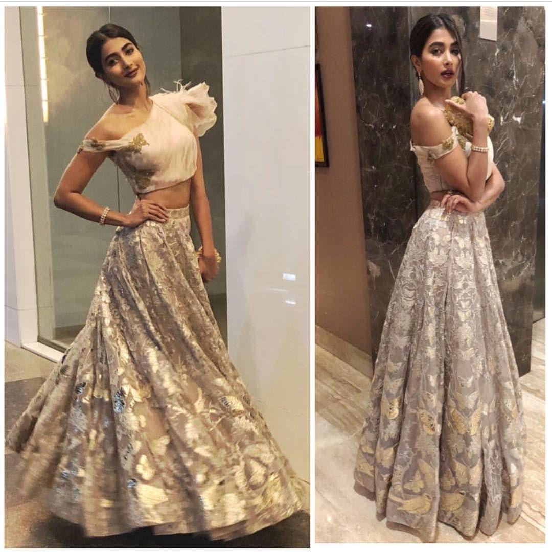 Hegde Pooja In Falguni And Shane Peacock Curvy Dress Designer Blouse Patterns Revealing Dresses