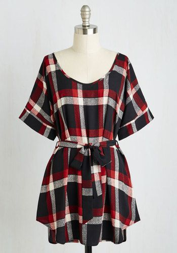 Medium Format Memory Tunic in Black Plaid - Red, Multi, Plaid, Print, 90s, Short Sleeves, Fall, Woven, Good, Variation, Scoop, Vintage Inspired, Long