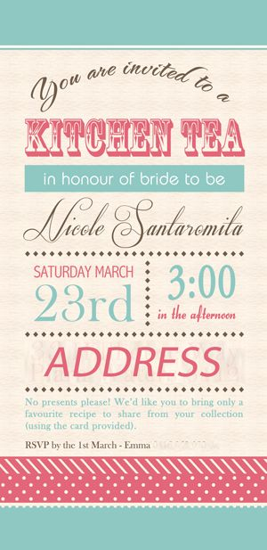 rolling pin kitchen tea invitation with guest names bridal