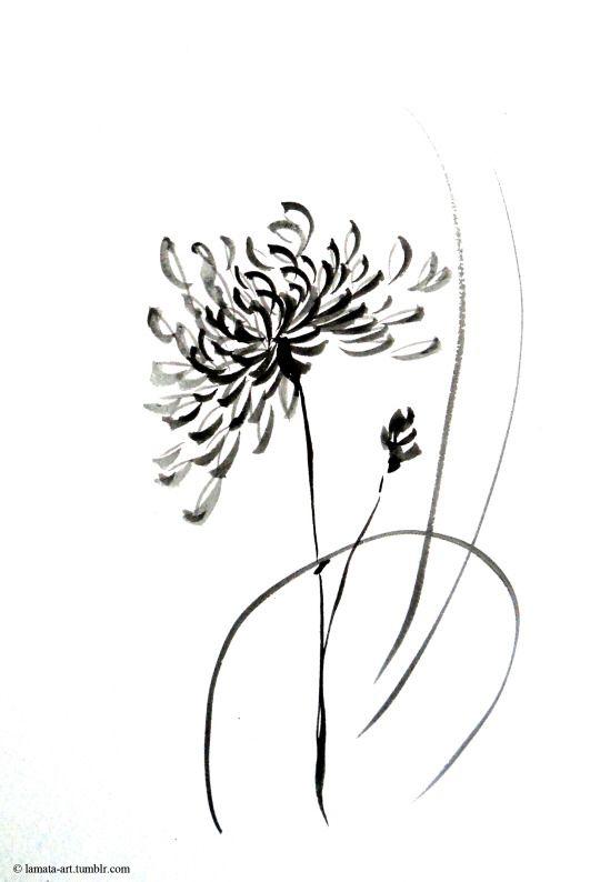 Lamata Art Chrysanthemum Tattoo Tattoos Wildflower Drawing