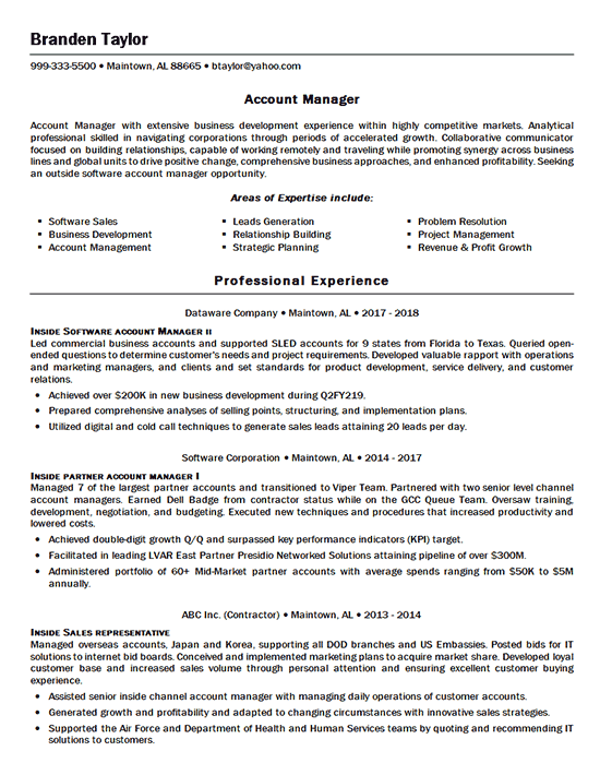 Software Account Manager Accounting Manager Resume Examples Manager Resume