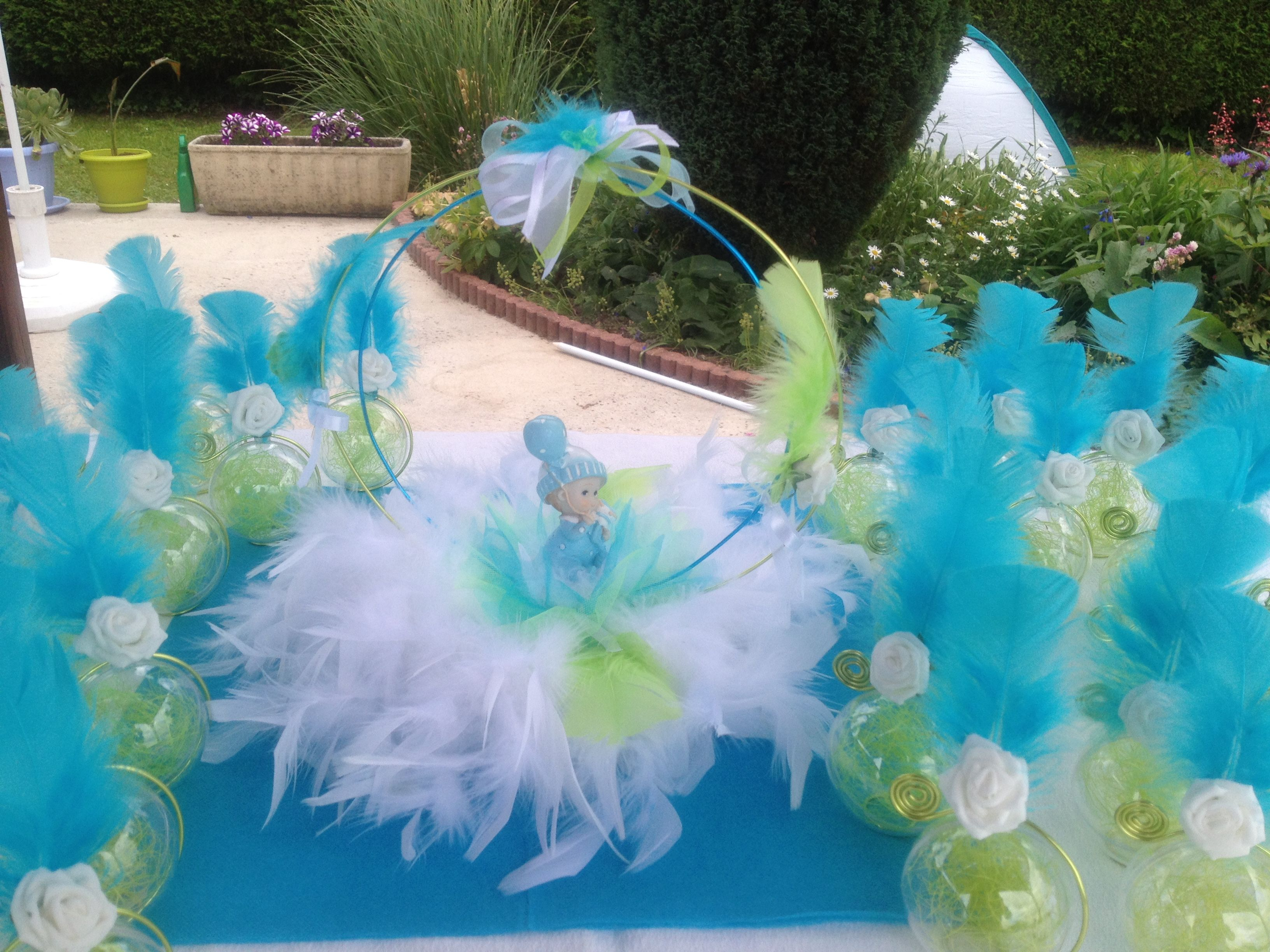 Centre de table bapt me gar on vert anis et bleu turquoise centre de table bapt me garcon - Centre de table bleu turquoise ...