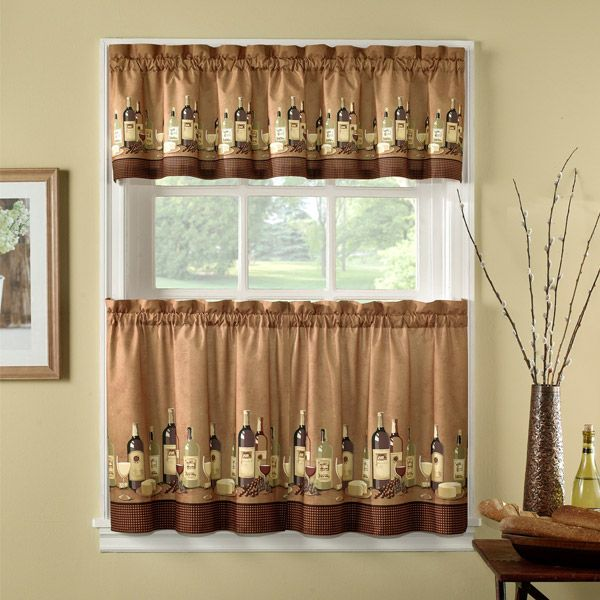 Wines Tailored Tier Curtain And Valance Set By Chf Industries Kitchen Curtain Sets Wine Theme Kitchen Kitchen Curtains