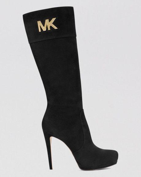 c23e986bc9c9 Michael By Michael Kors Black Tall Dress Boots Hayley Mk Logo Plate High  Heel