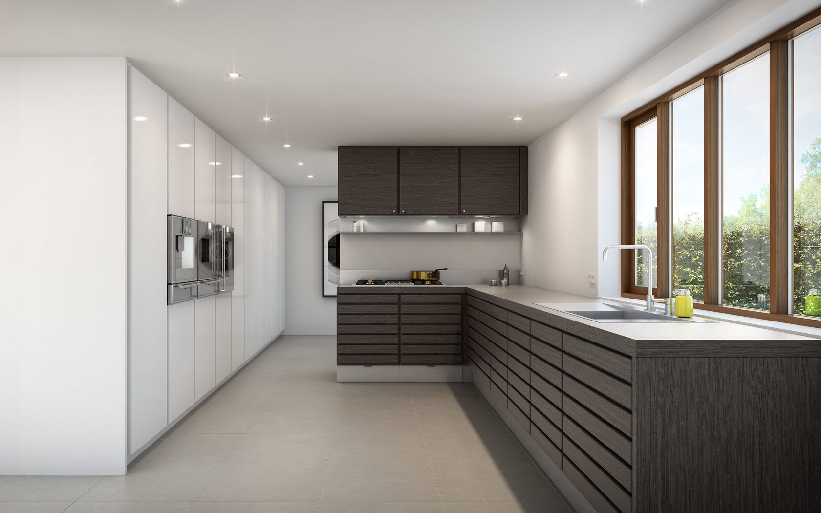Form 6 Full Wall Cabinets In White With Built In Ovens