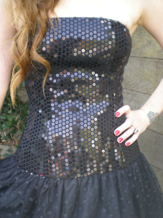 34253ce8d52 Vintage Black Sequin Dress Saks Fifth Avenue Dress Prom Dress. NYE Dress.  Sexy