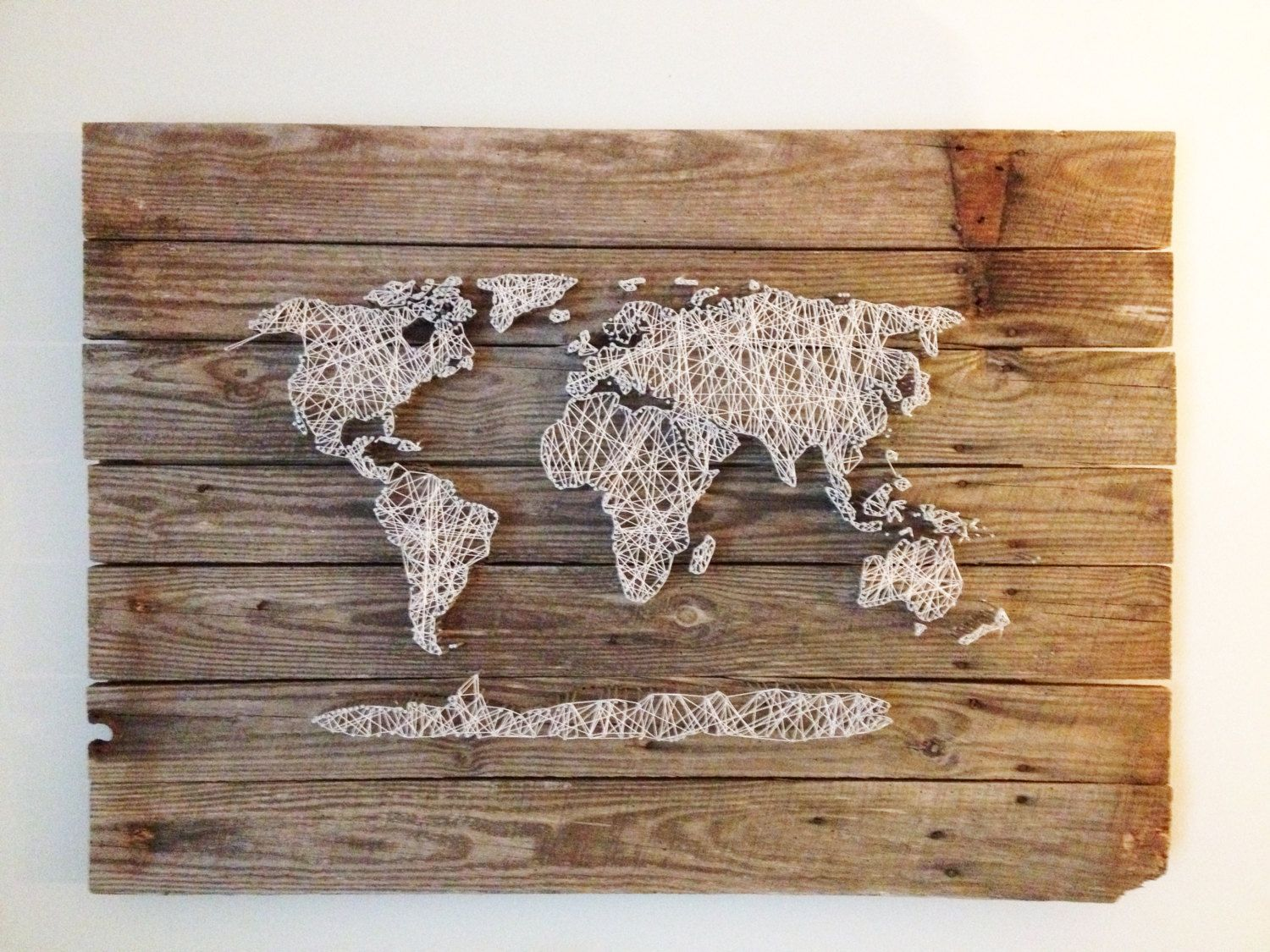 World Map Reclaimed Barn Door Wood String Art Wall Decor, 39 x 29. $450.00