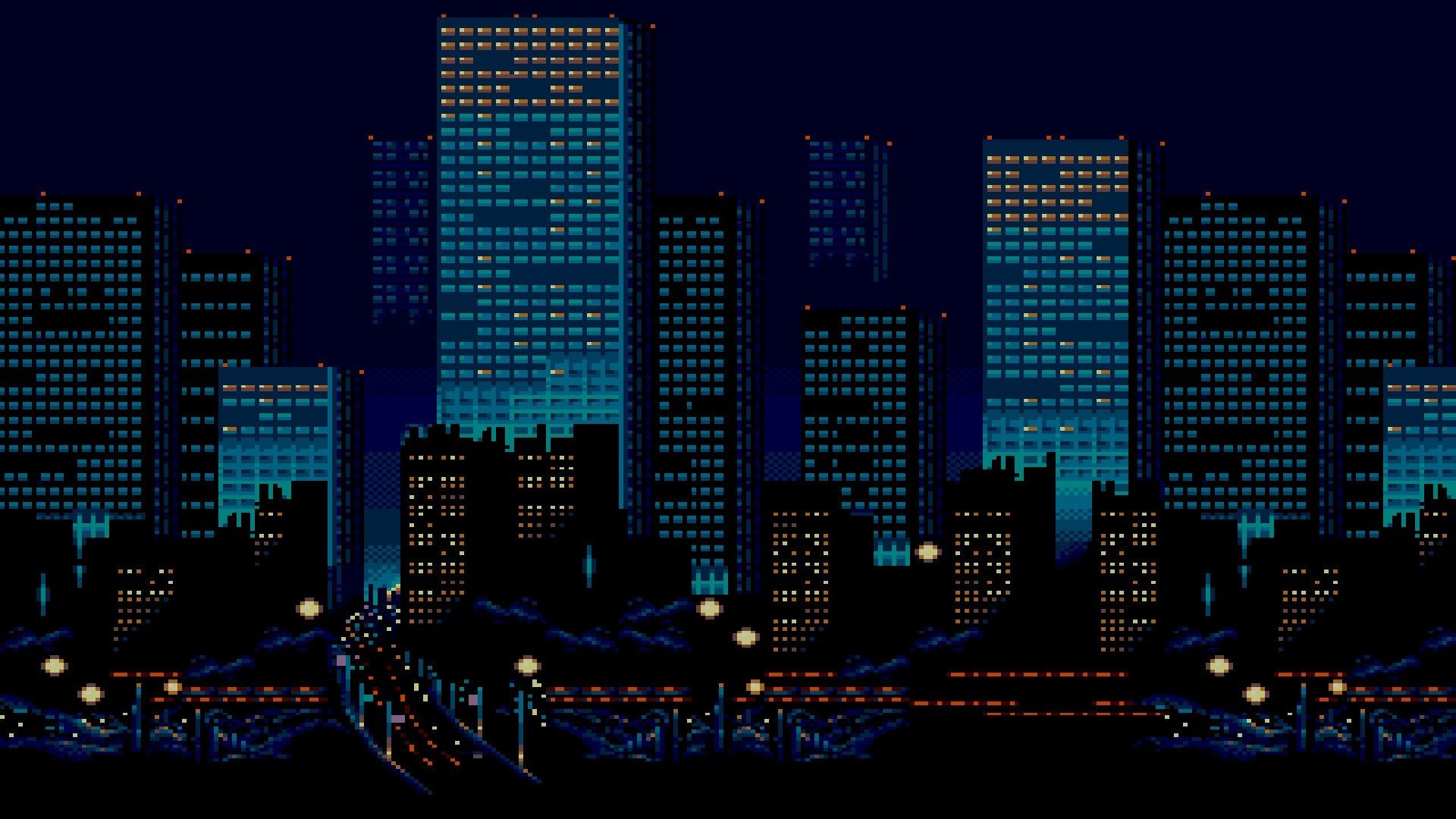 1920x1080 City Hd Wallpaper In 2020 Pixel City Pixel Art Art Wallpaper