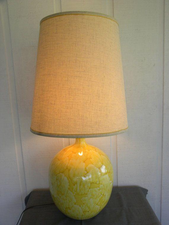 1960 S 1970 S Amazing Bright Sunshine Yellow Ceramic Drip Glaze Bulb Style Lamp Yellow Ceramics Retro Lamp Lamp