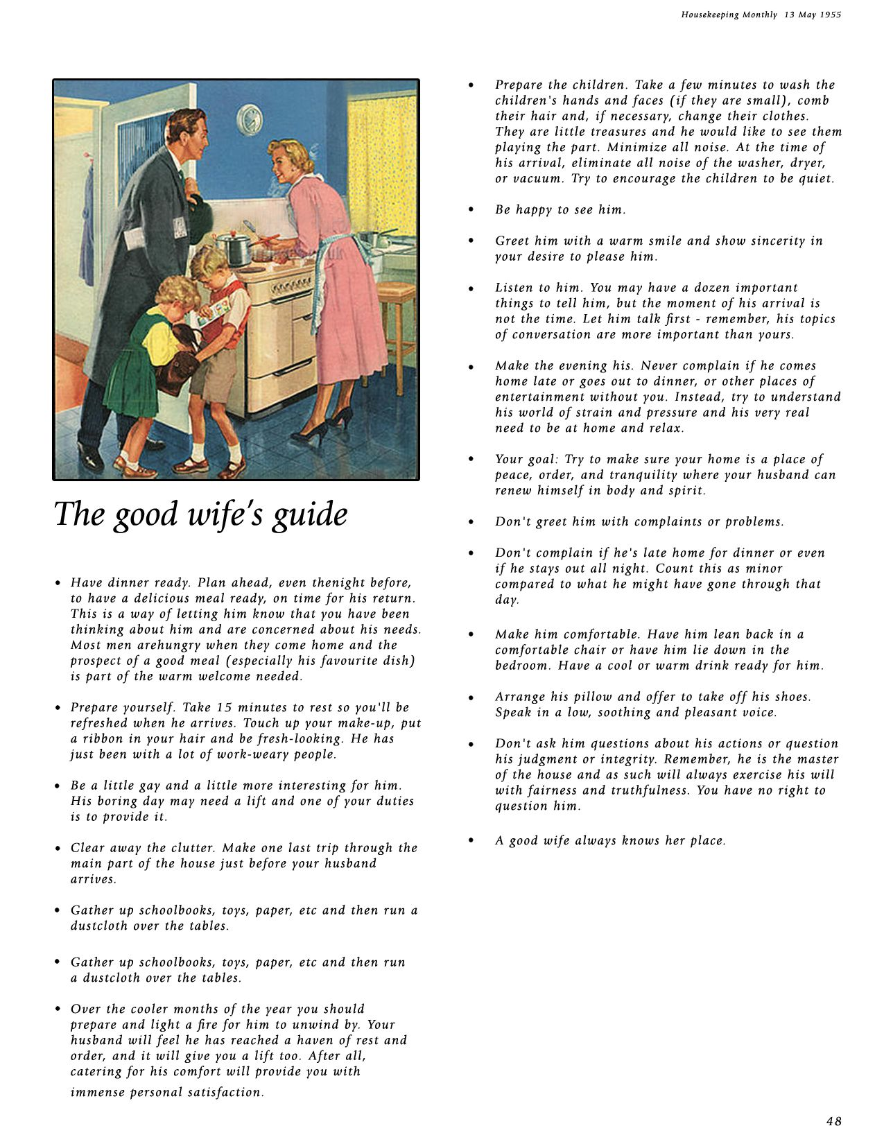 50s Guide To Being A Good Housewife