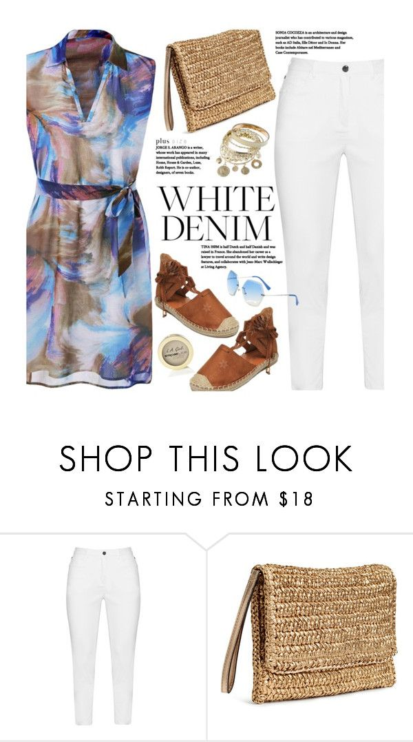 """""""Bright White: Summer Denim (plus size)"""" by beebeely-look ❤ liked on Polyvore featuring Zhenzi, L.A. Girl, ootd, whitejeans, sammydress, plussize and curvy"""