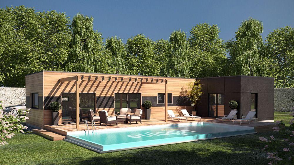 Architecture - Extérieur - 3D - Maison - Bois - Jardin - Piscine